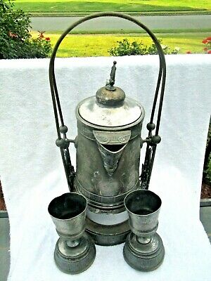 c.1880 Antique VICTORIAN Aesthetic PAIRPOINT Silverplate Tilt Water Pitcher Cups