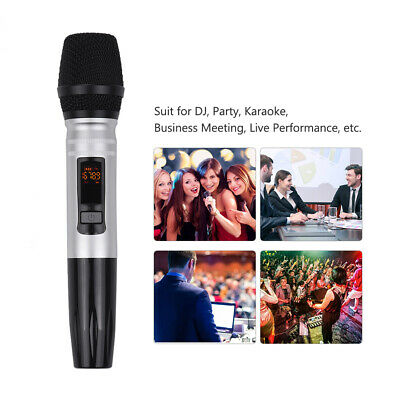 UHF Wireless Microphone Set With 1 Receiver 2 Handheld Mic For Meeting News B1P6