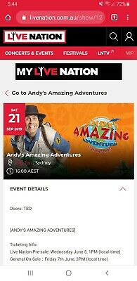 Andys Amazing Adventure Sydney Show 21st Sept 4pm. 3 tickets in a row. Cost $120