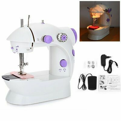 Portable Mini Desktop Sewing Machine Double Speed Automatic Thread with Light