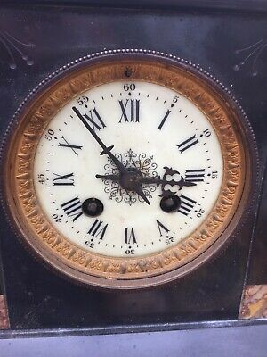 Antique French Marble Mantle Clock For Restoration Lovely Detail