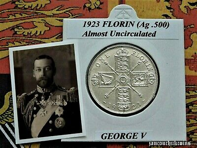 🌟 ALMOST UNCIRCULATED? 1923 Florin/Two Shilling George V (Silver .500)