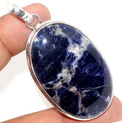 """F9054 Sodalite 925 Sterling Silver Plated Pendant 2.3"""""""