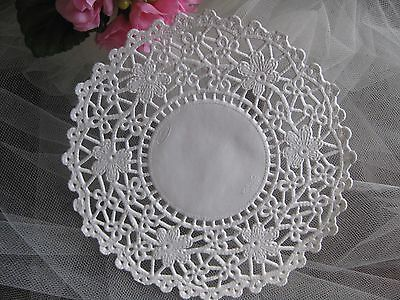 """5.5"""" INCH WHITE PAPER DAISY FLOWER LACE DOILY 25 PCS CRAFT ROUND FANCY CARDs ❤"""