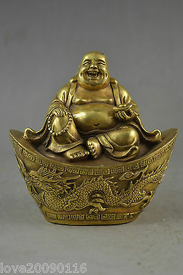 Collectible Decoration Brass Carving Buddha On The Ingot Bring Wealthy Statue