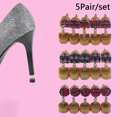 5Pairs Brown High Heel Shoes DIY Repairs Tips Pin Taps Dowels Lifts Replaceme~GN