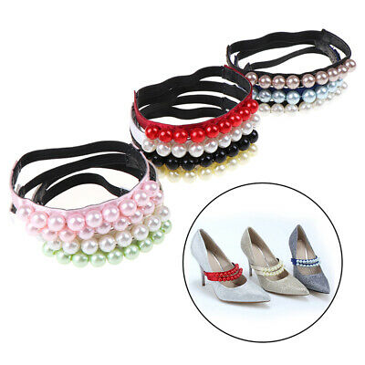 1Pair Sweet Pearl Heels Band Shoe Accessory Decoration Elastic Straps Shoela~GN