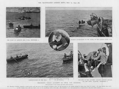 1903 Antique Print - KENT Dover English Channel Swimming Montague Holbein (129)