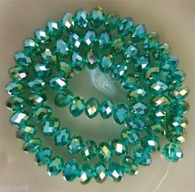 Faceted 70pcs 6*8mm Peacock green AB Rondelle glass crysta Beads DIY Jewelry