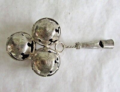 Antique Sterling Silver Baby Rattle and Whistle - Turn of Century - 1900s