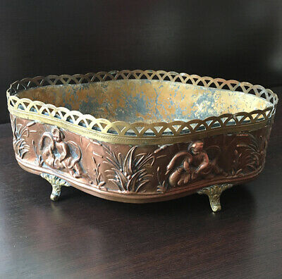 Antique Cache Pot Window Box Copper Regrowth & Brass Putti Swan Antique Planter