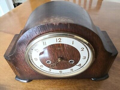 Wooden Cased Chiming Smiths Of Enfield Mechanical Mantle Clock