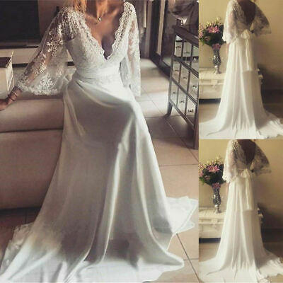 Boho Beach Wedding Dresses V Neck Lace Chiffon Long Princess Bridal Gowns Custom