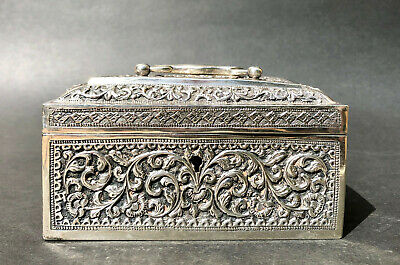 ANTIQUE INDIAN  CIGAR BOX SILVER KUTCH MADRAS ca 1880 COLONIAL