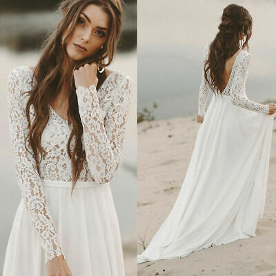 Boho Beach Wedding Dresses Long Sleeve A line Bridal Gowns Lace Open Back 2019