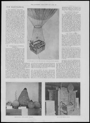 1900 Antique Print - HOT AIR BALLOON Andree Message Buoys Stockholm (231)