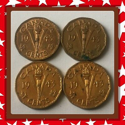 🇨🇦 Lot Of 4–1943 Tombac Canada five cents Canadian nickels Coins #1670 🇨🇦