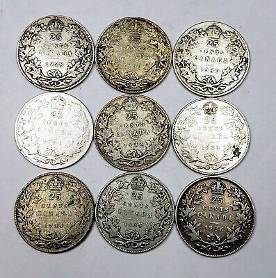 Canada 1928 to 1936 Silver 25 Twenty Five Cents 9 Coin Lot Collection Lot