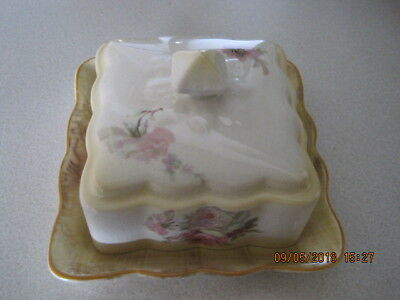 Antique JAMES KENT OLD FOLEY England CHEESE SAVER DISH Pink Roses Bouquet