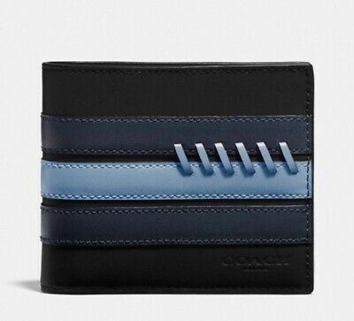 NWT Coach Men's 3-IN-1 Wallet w/ Baseball Stitch Washed Blue Navy $178 Retail