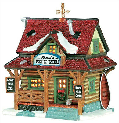 Lemax Christmas Village Ron's Fish And Tackle #15583 Lighted Building Ornament