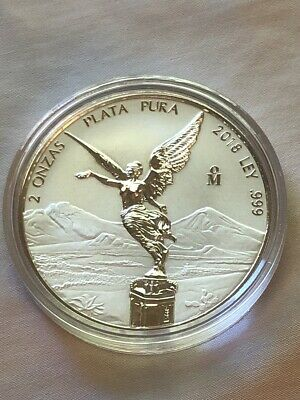2018 2 oz. Silver Mexican Libertad Reverse Proof Coin (BU) In Capsule