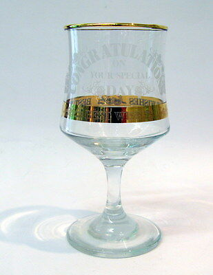 Gold Trim Celebration Wine Glass Congratulations On Your Special Day Best Wishes
