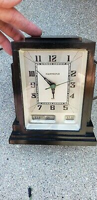 Skyscraper Hammond Electric Clock black deco day date works