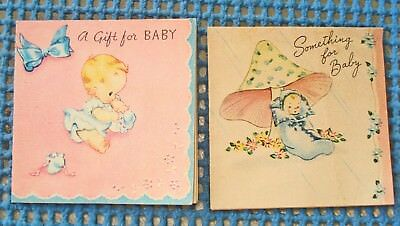 Two 1940S Vintage Baby Shower Gift Cards -   Used