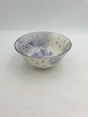 Japanese Art Pottery Glazed Footed Bowl White Purple Prunus Blossom Floral