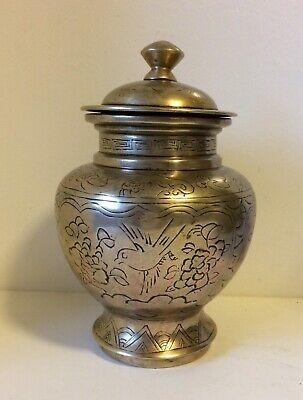 Antique Chinese Bronze Tobbaco Jar With Lid
