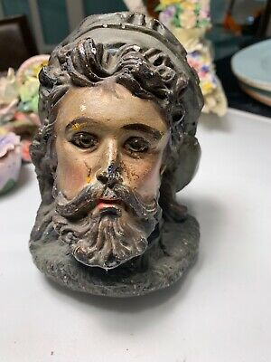 Antique Jesus Christ Head Rare from 1900 Vintage Church Statue Religious