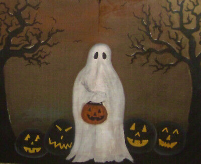 *~*Primitive*~* Hp Folk Art Ghost * Jack-O-Lantern * Gnarly Trees * Reclaim Wood