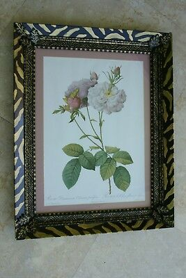 Signed Unique Detailed Artist Hand Painted Frame Matted Redoute Print Roses Re1