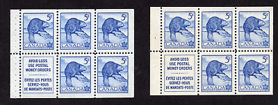 Canada #336a & 336ai 5 Cent Bllue Beaver Booklet Pane Stapled and Stitched MNH