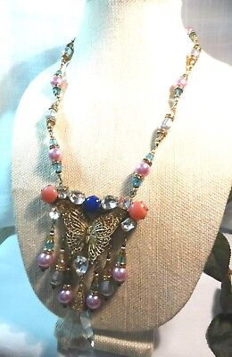 "Art Deco CZECH Aqua/Pinks/Lavender Egyptian Revival ""Butterfly"" Necklace~GREAT~"