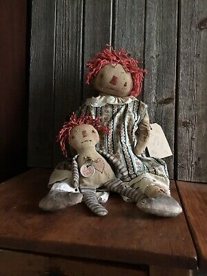 Primitive FolkArt Raggedy Annie Doll and Her Little Old Dolly~Extra Primitive