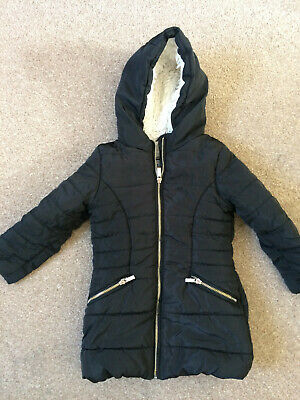 TU Dark Blue Hooded Fleecy Winter Parka Anorak Coat 3-4 Years 98-104cm