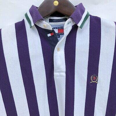 VTG 90s Tommy Hilfiger Polo Shirt Mens M Vertical Purple Striped with Crest Flag