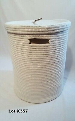 Tall Round Off White Cotton Rope Lined Basket Bathroom Laundry Bin Bag with Lid