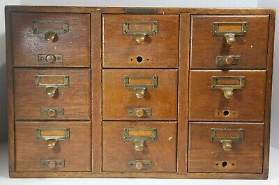 Antique 9-Drawer Card Catalog Cabinet by Library Bureau Sole Makers