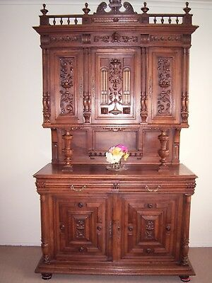 Antique French Walnut Sideboard Buffet ,Ornately Carved,Lots Turned & Scalloped