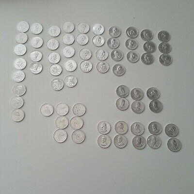 Shell's Mr. President Coin Game Coins 1968 Lot Of 66 Aluminum Play Money Tokens