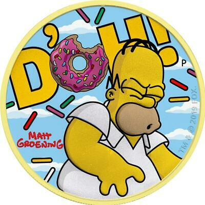 Tuvalu 2019 $1 D'OH! Homer Simpson Clouds 1oz Silver Gilded Coin 250 pcs