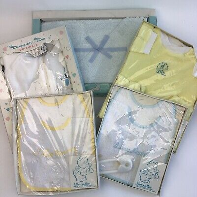 Lot Of 5 Vintage Baby Infant Gifts Sleeper Outfit Bibs Towel In Package Props