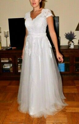 White Lace Tulle Wedding Gown Maxi Long Dress sz Medium M NEW