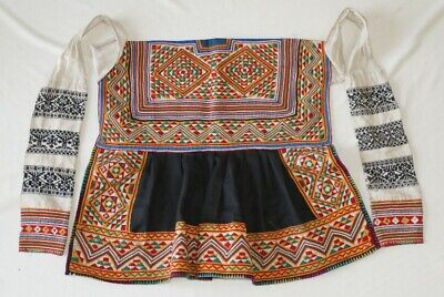 Vintage tribal exotic chinese miao people's old hand embroidery costume apron