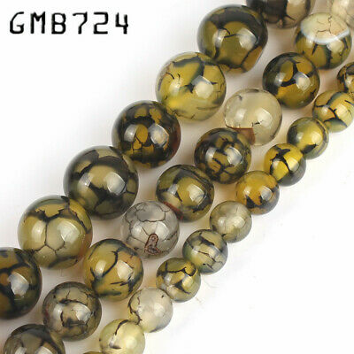 Natural Yellow Black Line Dragon Veins Agate Round Stone Bead for Jewelry 6-10MM