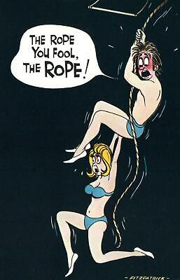 RUDE RISQUE COMIC BAMFORTH LADY HANGING OFF MAN INSTEAD of ROPE POSTCARD