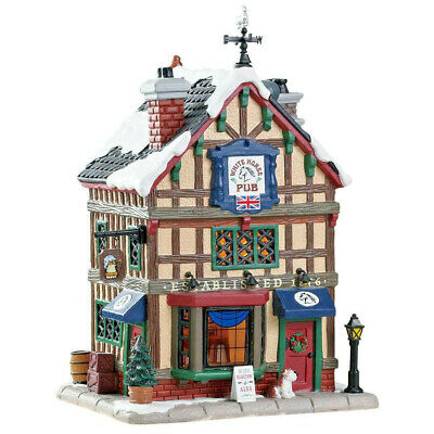 Lemax Christmas Village Old British Pub #85345 Lighted Building The White Horse